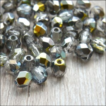 Czech Glass Faceted Fire Polished Beads 4mm Crystal Marea