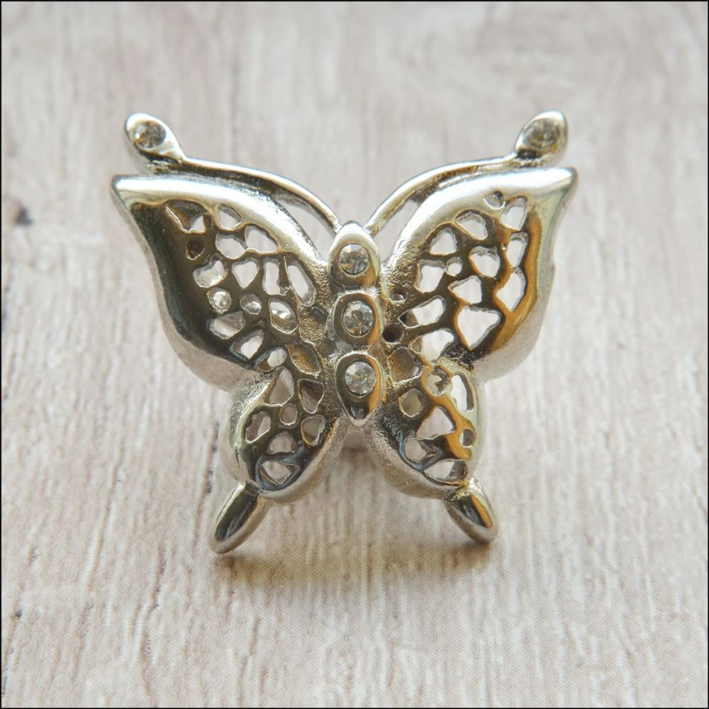 Silver Magnetic Jewellery Clasp Butterfly Shaped