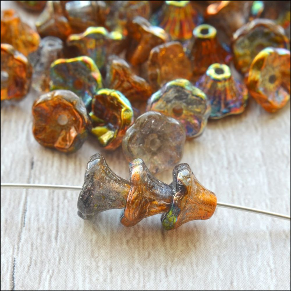 Czech Glass Flower Cup Beads - Magic Copper