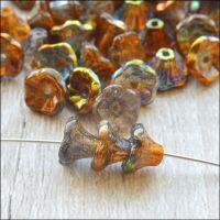 Czech Glass Flower Cup Beads - Magic Copper
