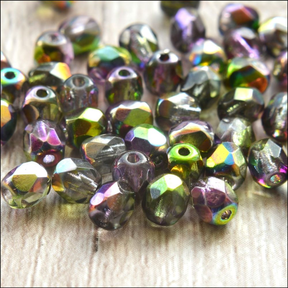 Czech Glass Faceted Fire Polished Beads 4mm Green & Purple AB Mix