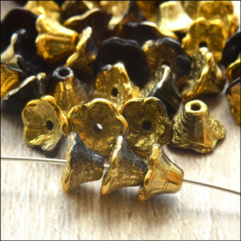 Czech Glass Flower Cup Beads - Jet Amber ,Black & Gold