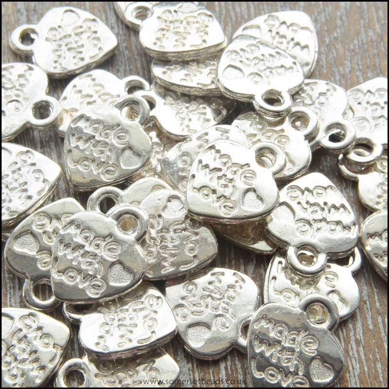 Silver Made With Love Heart Shaped Charm