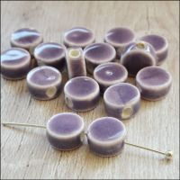 9mm Orchid Glazed Ceramic Disc Beads