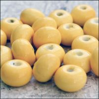 Glazed Ceramic Rondelle Beads 8mm x 5mm Yellow