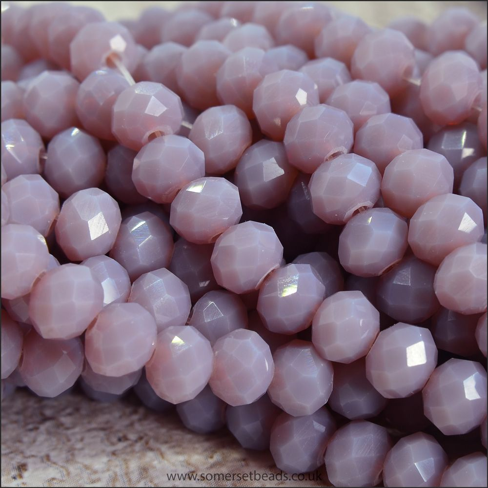 Opaque Faceted Glass Crystal Rondelle Beads Thistle 4mm x 6mm