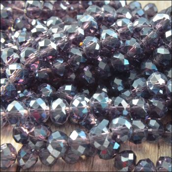 Purple Glass Crystal Rondelles 6mm x 4mm