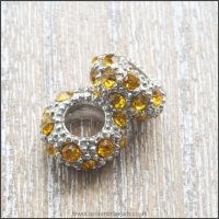 Gold Rhinestone Rondelle European Spacer Bead