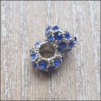 Sapphire Blue Rhinestone Rondelle European Spacer Beads