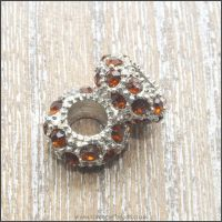 Amber Rhinestone Spacer Rondelle Bead