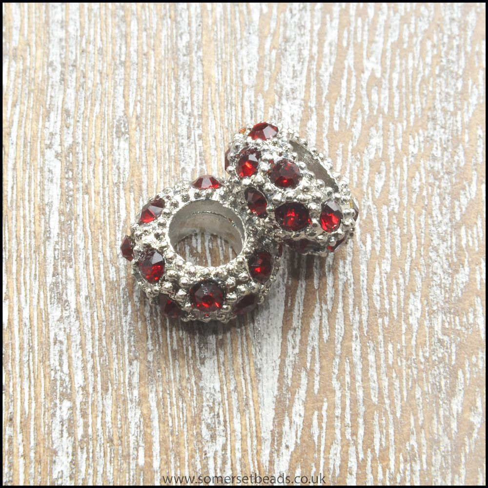 Deep Red Rhinestone Rondelle European Spacer Beads