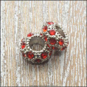 Red  Rhinestone Rondelle European Spacer Beads