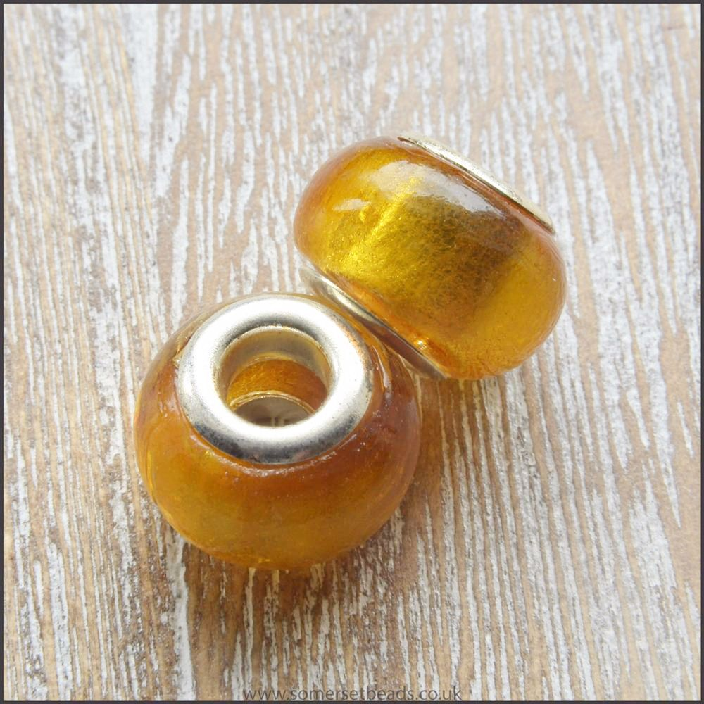 Gold Foil Glass Euopean Beads