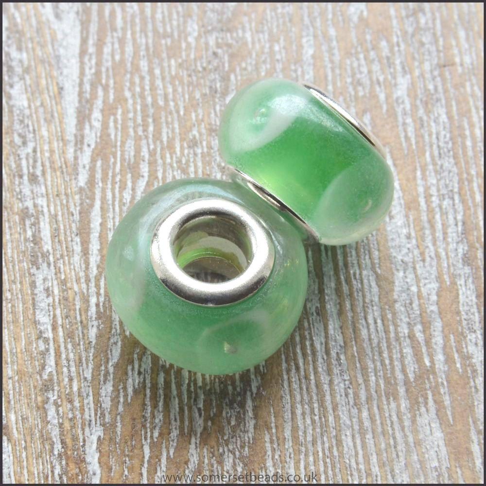 Green and White Glass European Charm Bead
