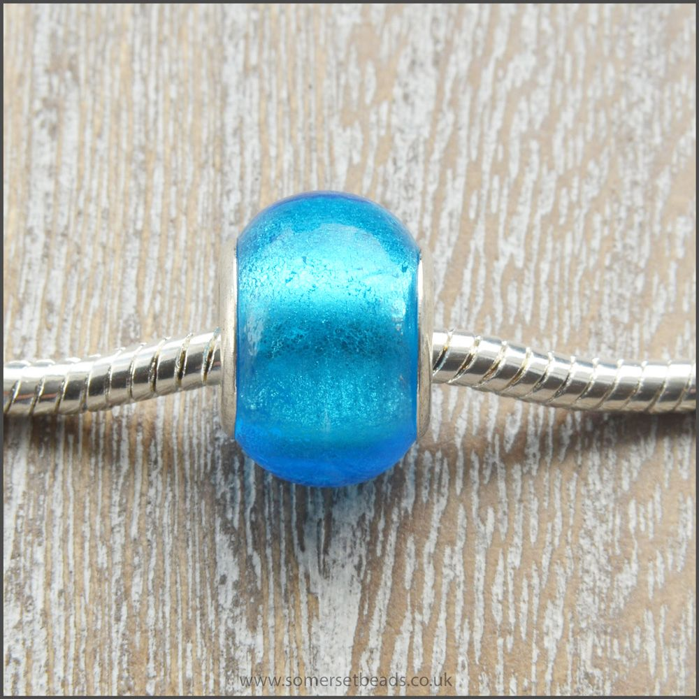 Turquoise Foil Glass European Style Charm Beads