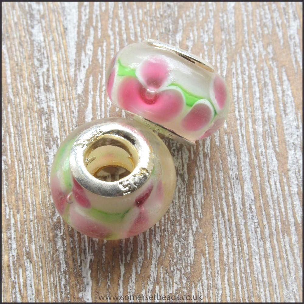 Pink Flower Glass European Charm Bead
