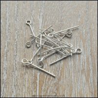 20mm Silver Plated Eye Pins