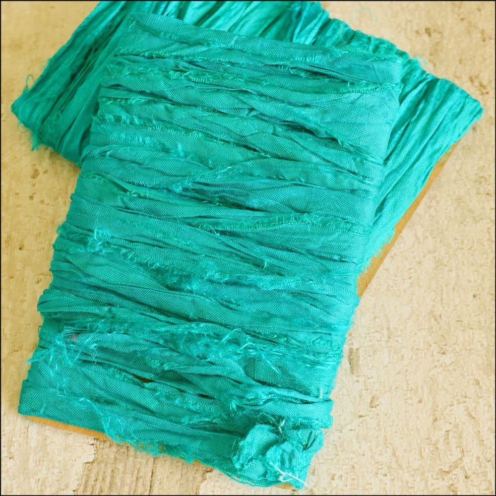Sea Green Sari Silk Ribbon
