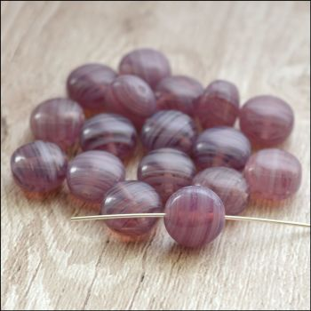 Czech Glass Puffy Disc Beads 9mm - Purple Swirls