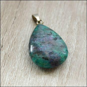 Ruby Zoisite Semi Precious Gemstone Teardrop Pendant