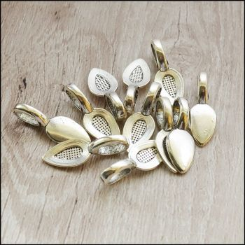 Silver Leaf Shaped Flat Pad Glue On Bails
