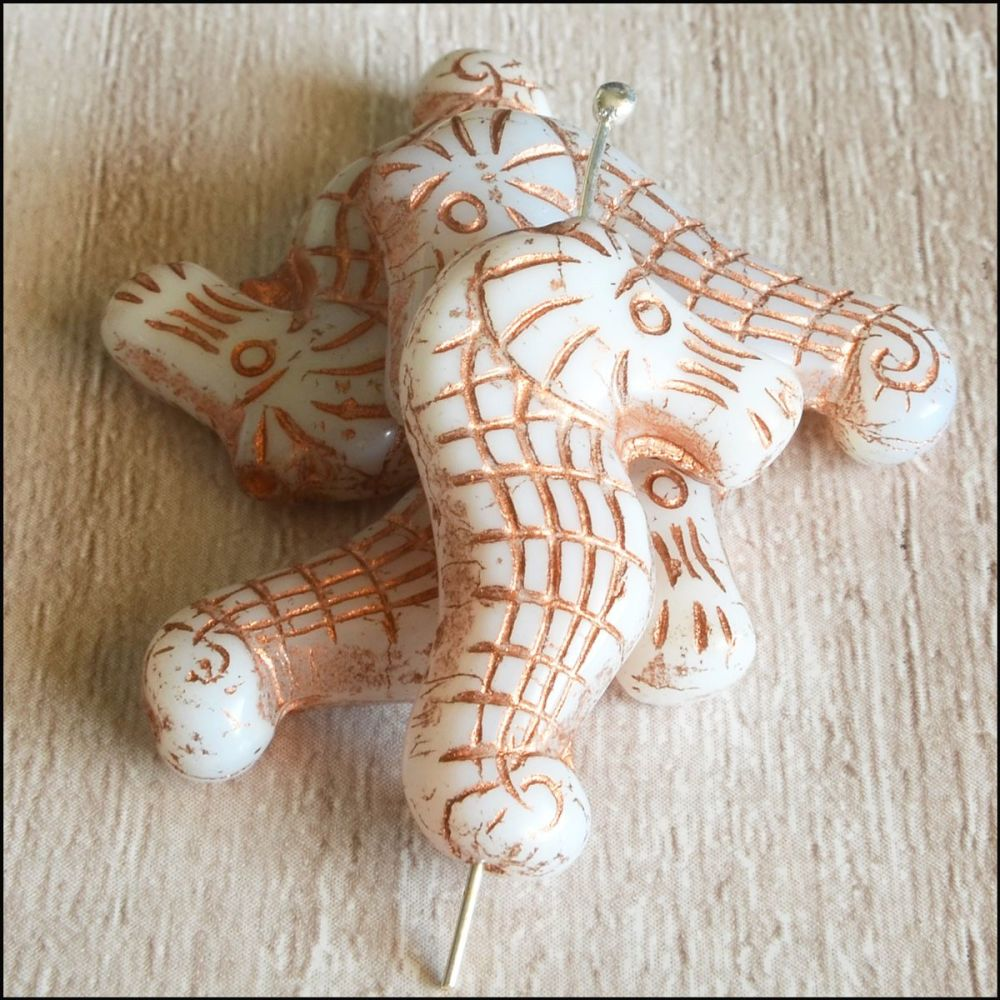 Czech Glass Seahorse Beads - Ivory