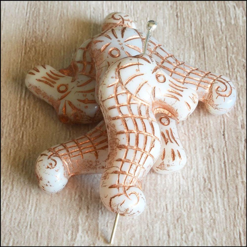 Czech Glass Seahorse Beads - Ivory