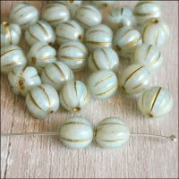 8mm Czech Glass Melon Beads Mint Green