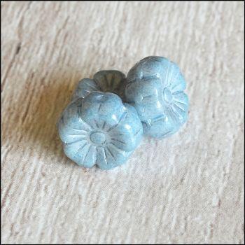 Czech Glass Hawaiian Lustre Flower Beads 8mm Blue