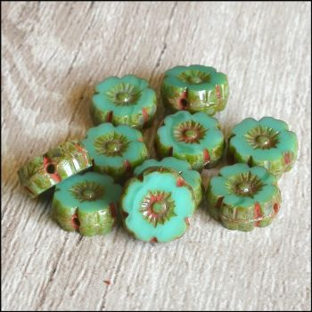 Mini Czech Table Cut Picasso Flower Beads - Aqua - 8mm