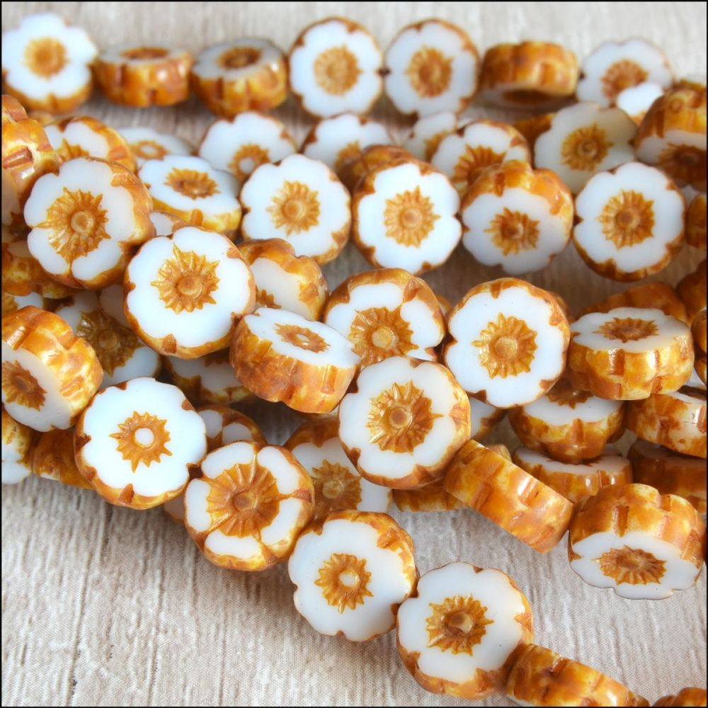 Mini Czech Table Cut Picasso Flower Beads - Ivory- 8mm