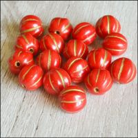 8mm Czech Glass Red & Gold Melon Beads