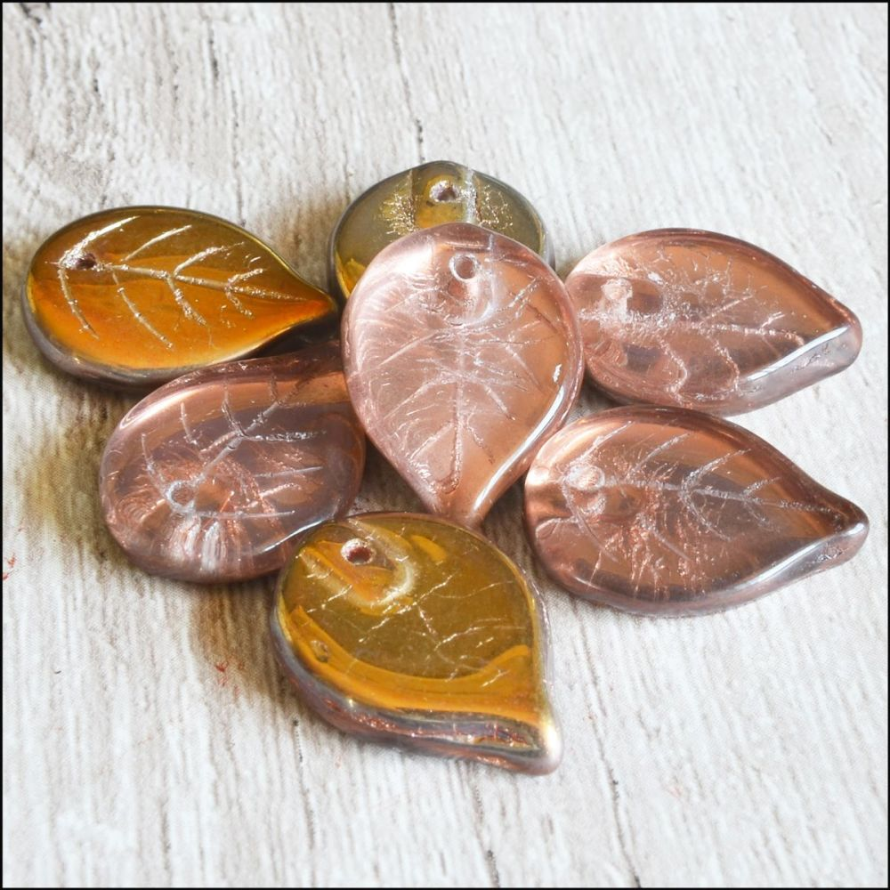Czech Glass Pressed  Leaf Beads 18mm Autumn Mix