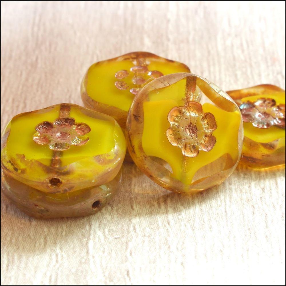Czech Glass  Marbled Flower Coin Beads 15mm Yellow