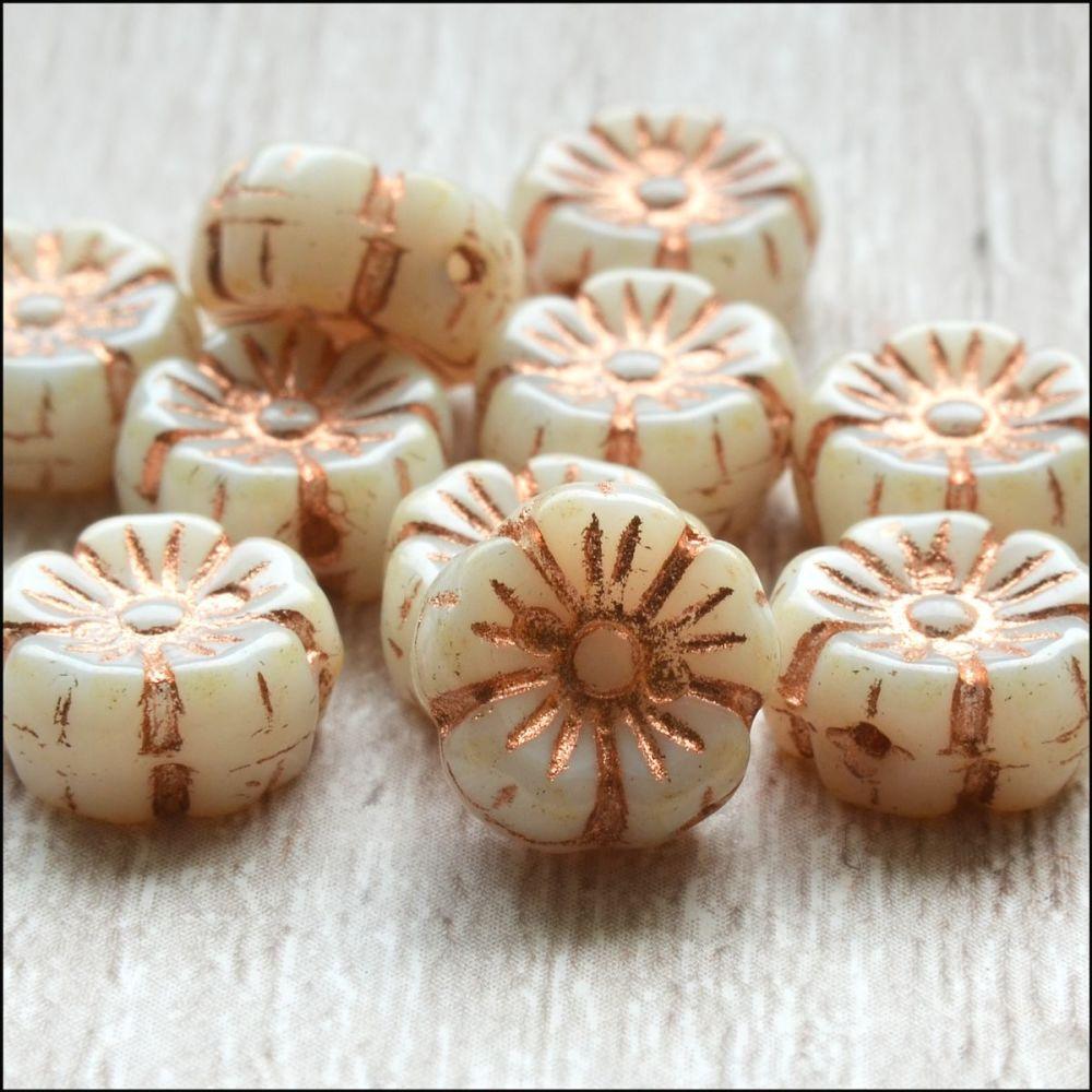 Czech Glass Hawaiian Flower Beads 10mm - Ivory