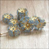 Czech Glass Hawaiian Flower Beads 10mm - Blue
