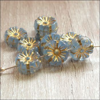 Czech Glass Hawaiian Flower Beads 10mm - Blue