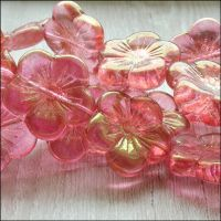 Czech Glass Hibiscus Flower Beads 20mm - Pink & Gold