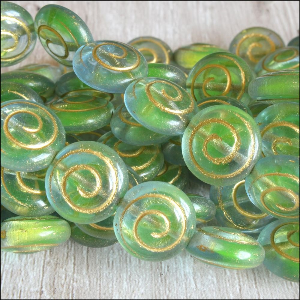 Czech Glass Spiral Coin Beads - Green Blue Mix  13mm