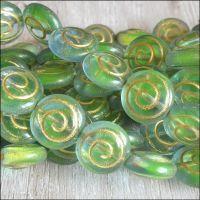 Czech Glass Spiral Coin Beads - Green Blue Mix  13mm