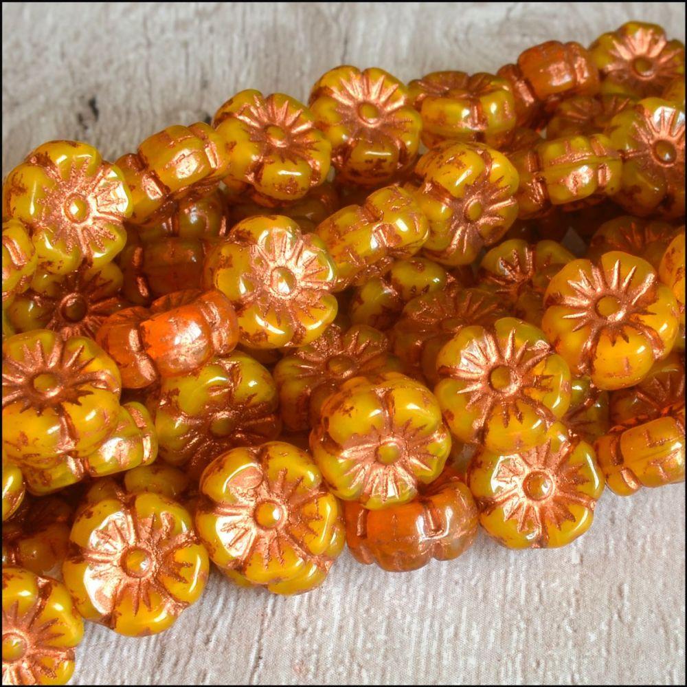 Czech Glass Hawaiian Flower Beads 10mm - Orange