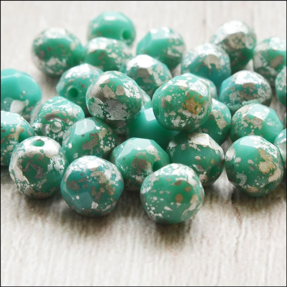 Czech Glass Faceted Fire Polished Beads 6mm Aqua & Silver