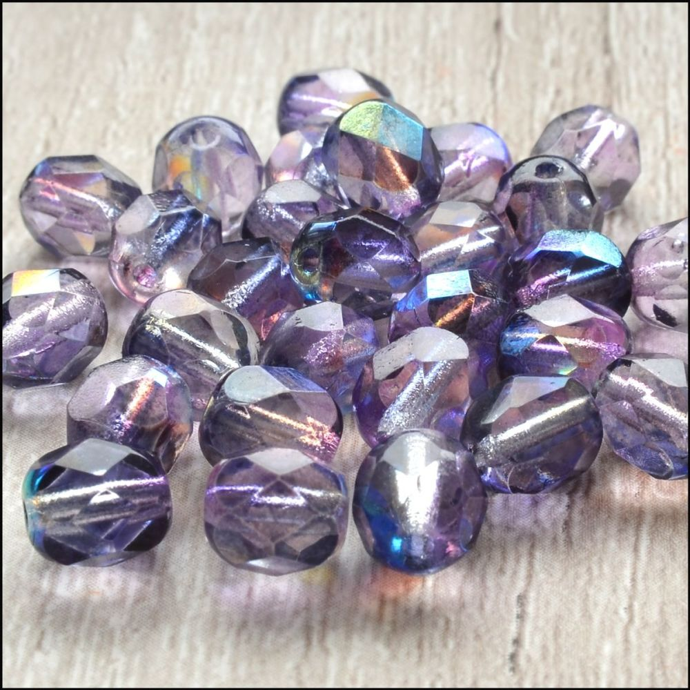Czech Glass Faceted Fire Polished Beads 6mm AB Purple Mix