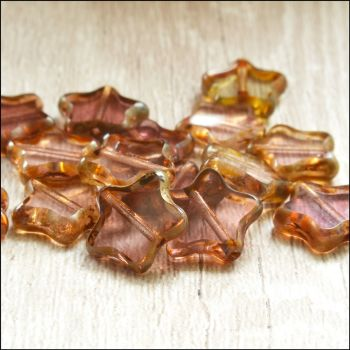 12mm Czech Glass Table Cut Star Beads  Purple Mix