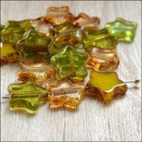 12mm Czech Glass Table Cut Star Beads - Green Mix
