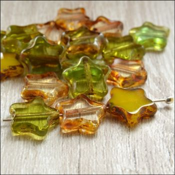12mm Czech Glass Table Cut Star Beads - Green Mix