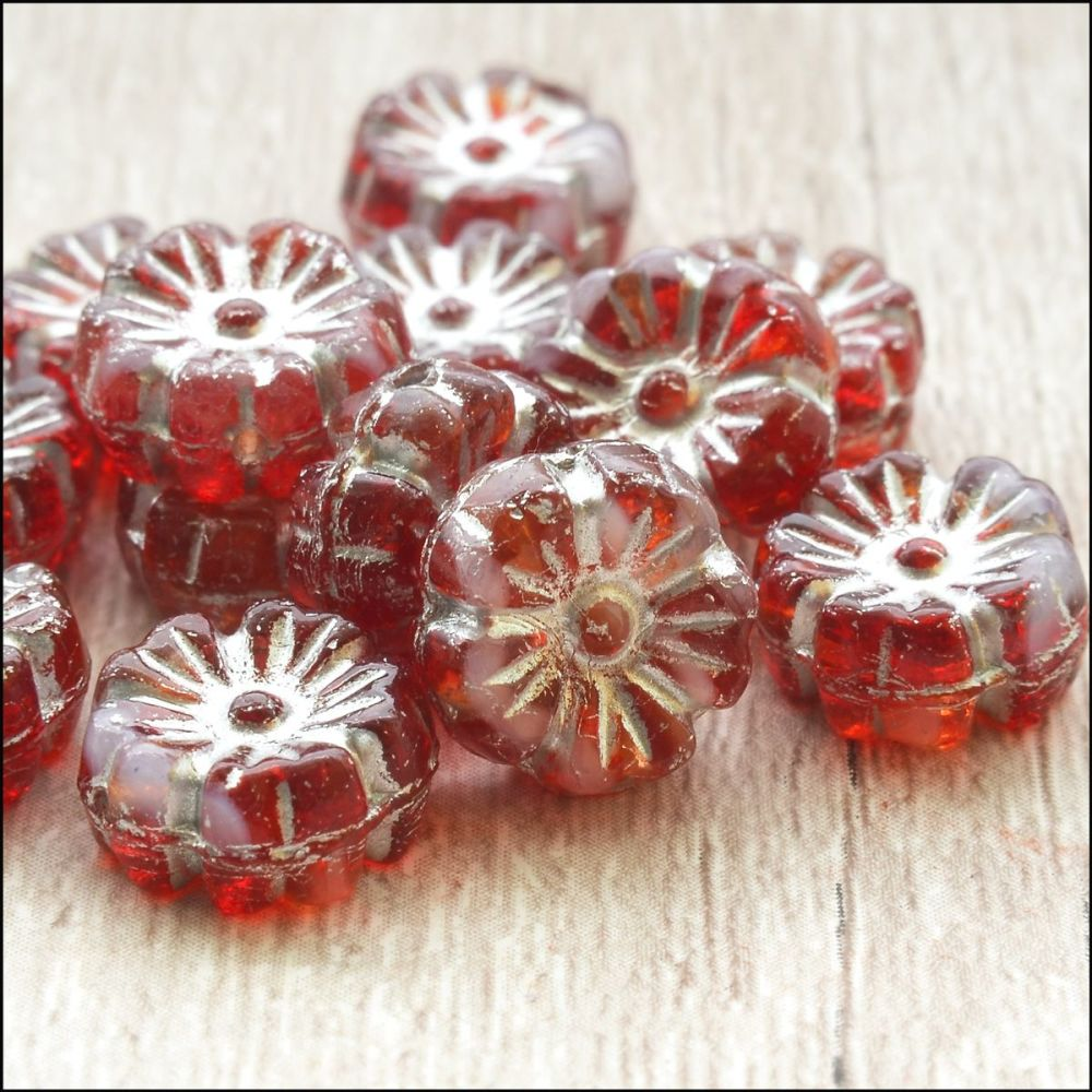 Czech Glass Hawaiian Flower Beads 10mm - Red & Silver