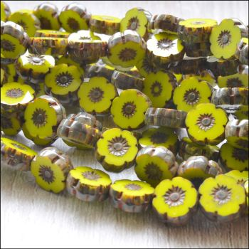 Mini Czech Table Cut Picasso Flower Beads -Lime- 8mm