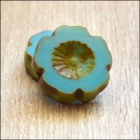Czech Glass Table Cut Picasso Flower Beads Opaque Turquoise