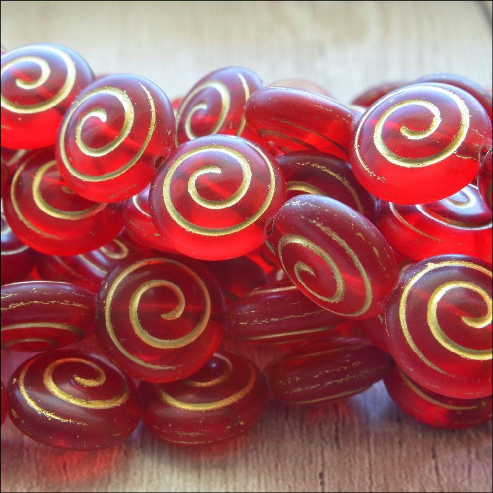 Czech Glass Spiral Coin Beads - Red  13mm